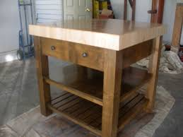 square small butcher block kitchen island with two drawers and