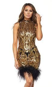 sequin dresses black and gold sequin fur trim dress soho girl