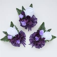 purple corsage eggplant purple hydrangea and roses silk flowers corsage
