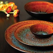 on table gibson elite kioto 16 piece double bowl dinnerware set red
