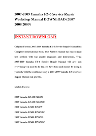 2007 2009 yamaha fz 6 service repair workshop manual download 2007 2 u2026