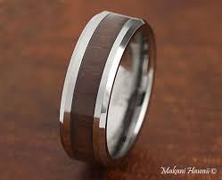 wood inlay wedding band tungsten wood inlaid mens wedding band 8mm makani