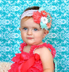baby hairbands coral aqua baby headband baby girl headband newborn headband