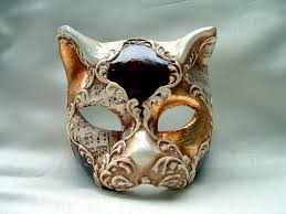 venetian mask cat gold brown white venetian mask venetian masks 1001