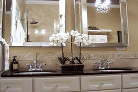 french inspired bathroom white horizontal blinds white wooden sink