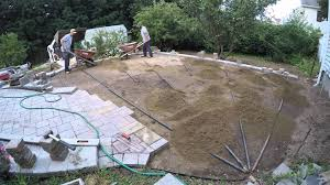 Installing A Patio With Pavers by Paver Patio Installation With Techo Bloc Mista Random Pavers Youtube