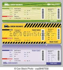 Train vintage travel tickets vector set ticket to train and set