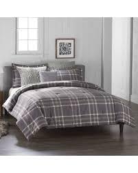 Plaid Bed Set Bargains 60 Cuddl Duds 6 Gray Plaid Flannel Comforter