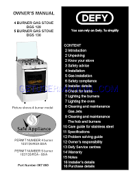 defy stove burner gas stove dgs 130 user u0027s manual download free