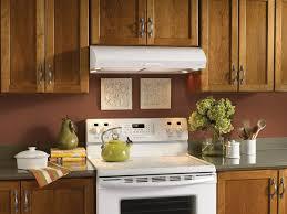 espresso kitchen cabinets and tile backsplash with kitchen hood