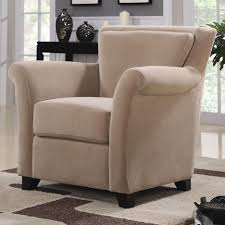 Bedroom Accent Chair Beige Tufted Leather Accent Chair Design With Varnished Wood Arm
