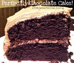 perfectly chocolate cake with nutella buttercream frosting