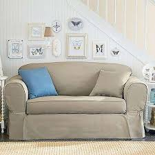 loveseat linen piped twill 2 piece sofa slipcover tan slipcovers