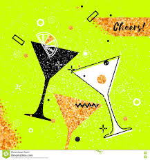 martini glasses clinking martini glass with gold glitter element stock vector image 81074353