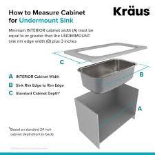 kitchen sink size for 24 inch cabinet kraus premier undermount stainless steel 20 in single bowl