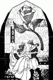 beauty and the beast stained glass window coloring page kids