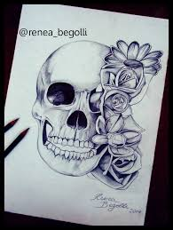 skull and flower drawing by reneab98 on deviantart