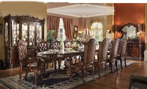 Formal Dining Room Sets For 10 Acme Vendome 11pc Double Pedestal Dining Room Set In Cherry By