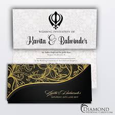 Sikh Wedding Card Black And Beige Elegant Sikh Wedding Card Light Version