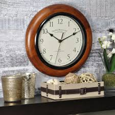 firstime 11 in walnut round wall clock 66729 the home depot