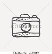 vector clip art of camera sketch icon for web and mobile hand