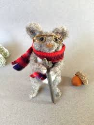 neeedle felted wool mouse christmas ornament with plaid scarf and