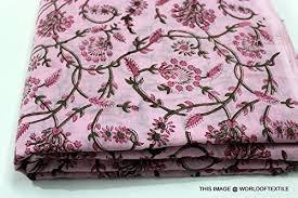 Large Floral Print Curtains Floral Print Jaipuri Fabric Handmade Sanganeri Cotton Fabric