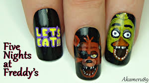 foxy u0026 chica nails five nights at freddy u0027s inspired nail art