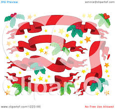 clipart of red christmas ribbon banners with stars and holly
