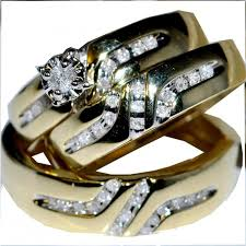 Trio Wedding Ring Sets by Trio Wedding Set His And Her Rings Bride And Grooms