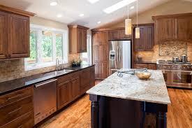 Dark Cherry Kitchen Cabinets Kashmir Gold Granite Kitchen Traditional With Cherry Cabinets Dark