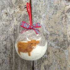 handmade needle felted bauble highland cow christmas tree