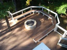 Trex Benches Trex Synthetic Deck With Bench And Fire Pit Archadeck Outdoor Living