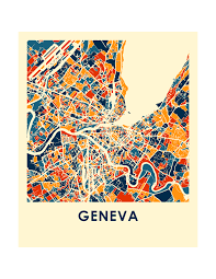 geneva map geneva map print color map poster ilikemaps