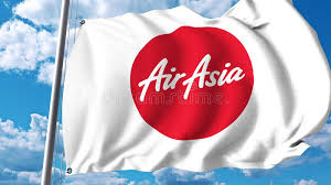 airasia logo waving flag with airasia logo 3d rendering editorial stock image