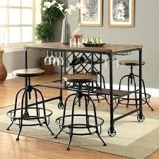 5 Piece Pub Table Set Pub Table With Wine Rack U2013 Abce Us