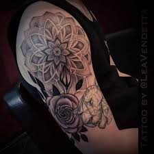 mandala tattoo on shoulder black n grey mandala tattoo