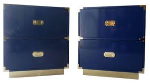 custom made blue campaign nightstands