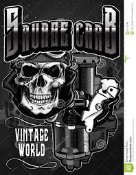 biker apparel the vintage motorcycle skull2 stock illustration image 91233284