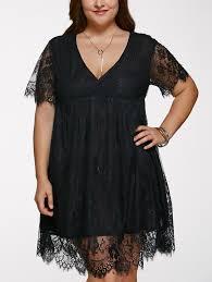 dresses black 5xl alluring v neck plus size women u0027s lace dress