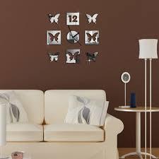 3d modern frameless wall clock crystal mirror sticker hours diy