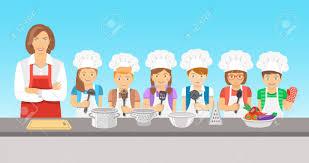 cours de cuisine groupe enfants cours de cuisine illustration plat groupe heureux