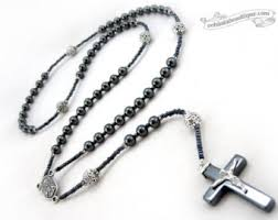 hematite rosary hematite rosary catholic necklace prayer choose crucifix and