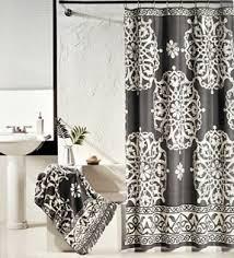 Charcoal Shower Curtain Tahari Luxury Cotton Shower Curtain Charcoal Gray And Ivory White
