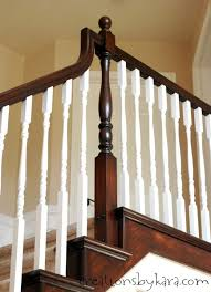 Stair Banisters Railings Diy Staircase Makeover With Stain And Paint