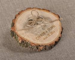 wedding ring holder engraved wood wedding ring bearer slice rustic wooden ring holder