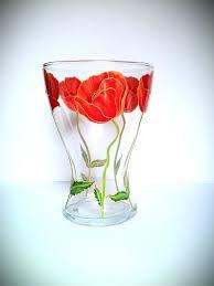 Poppy Home Decor Poppy Home Decor Painted Vase Poppies Glass Flower Gift