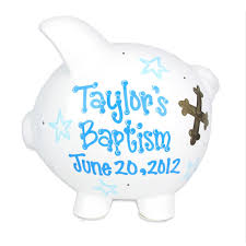 boys baptism piggy bank painted personalized white ceramic