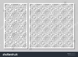 set decorative panels laser cutting wooden stock vector 734702713