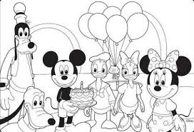 Mickey Mouse Disney Happy Birthday Coloring Pages Birthday Mickey Mouse Coloring Pages